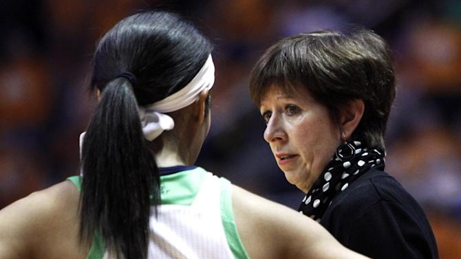 Notre Dame head coach Muffett McGraw talks with guard Skylar Diggins (4) in the first half of an NCAA college basketball game against the Tennessee on Monday, Jan. 28, 2013, in Knoxville, Tenn. (AP Photo/Wade Payne)