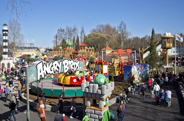 Angry Birds Land, the new part of the Sarkanniemi amusement park in Tampere, seen on May 1, 2012. At Rovio, the future is Angry. The Finnish gaming company that made the eponymous Angry Birds title _ with more than 1 billion downloads to date _ is now spreading its wings beyond the virtual world. It has already launched plush toys, lunch boxes, clothing, stationery, food and drink items, a Formula 1 driver sponsorship deal and a jewelry line with the Angry Birds theme. Rovio this week announced it would launch an Angry Birds-branded debit card in Russia in partnership with a local bank. Next up: Angry Birds Land, one of the highlights of a theme park opening next month in the Finnish city of Tampere. (AP Photo/Lehtikuva, Jukka Töyli ) FINLAND OUT