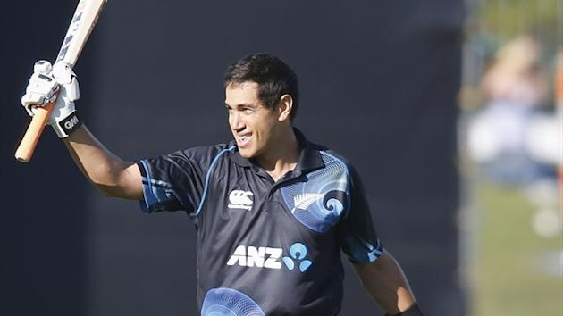 Ross Taylor of New Zealand celebrates scoring 100 runs against England during the second cricket match of their one day international series at McLean Park, Napier February 20, 2013. (Reuters)