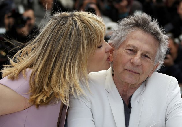 "Cast member Emmanuelle Seigner and director Roman Polanski pose during a photocall for the film ""La Venus a la Fourrure"" at the 66th Cannes Film Festival"
