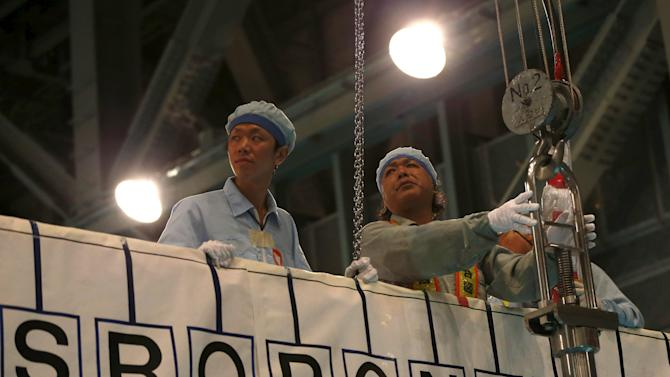 Employees of Kyushu Electric Power Co. hoist fuel rod using crane from spent fuel pool at Sendai nuclear power station, where fuel rods being inserted into a reactor vessel,  in Satsumasendai
