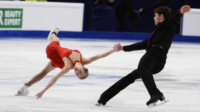 Minerva Fabienne Hase and Nolan Seegert of Germany perform during the pairs free skating event at the European Figure Skating championships in Stockholm