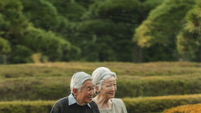 Handout photo shows Japan's Emperor Akihito and Empress Michiko take a stroll in the garden of the Imperial Residence at the Imperial Palace in Tokyo