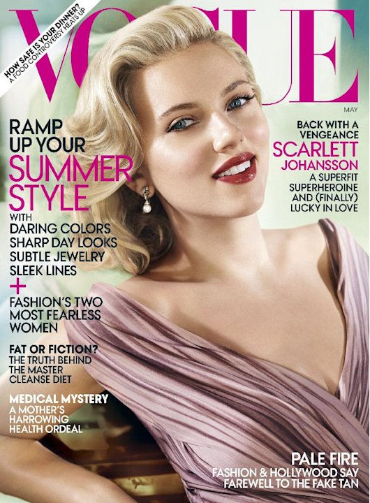 In this magazine cover image released by Vogue, actress Scarlett Johansson is shown on the cover of the May 2012 issue of &quot;Vogue.&quot; (AP Photo/Vogue)