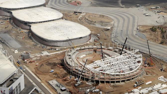 An aerial view of the Rio 2016 Velodrome venue at the Olympic Park construction site in Rio de Janeiro
