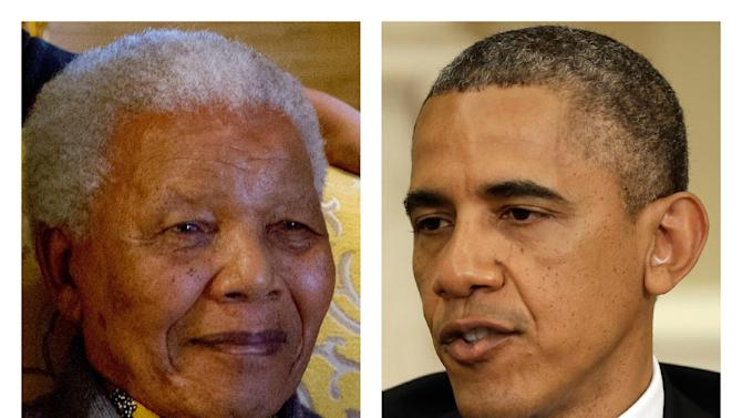 FILE - This two-picture combination of file photos shows Nelson Mandela on Aug. 8, 2012, left, and President Barack Obama on May 31, 2013. It was as a college student that President Barack Obama began to find his political voice. Inspired by Nelson Mandela's struggle against South Africa's apartheid government, the young Obama joined campus protests against the white racist rule that kept Mandela locked away in prison for nearly three decades. Now a historic, barrier-breaking figure himself, Obama will arrive in South Africa Friday to find a country drastically transformed by Mandela's influence, and a nation grappling with the beloved 94-year-old's mortality. (AP Photo/File)
