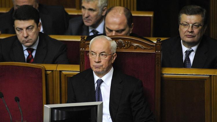 Ukrainian new elected Prime Minister, Mykola Azarov is seen in parliament, Kiev, Ukraine, Thursday, Dec. 13, 2012. (AP Photo/Sergei Chuzavkov)
