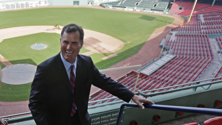 Boston Red Sox new manager John Farrell smiles as he walks through the stands at Fenway Park in Boston, Tuesday, Oct. 23, 2012.  Farrell becomes the 46th manager in the club's 112-year history. (AP Photo/Charles Krupa)