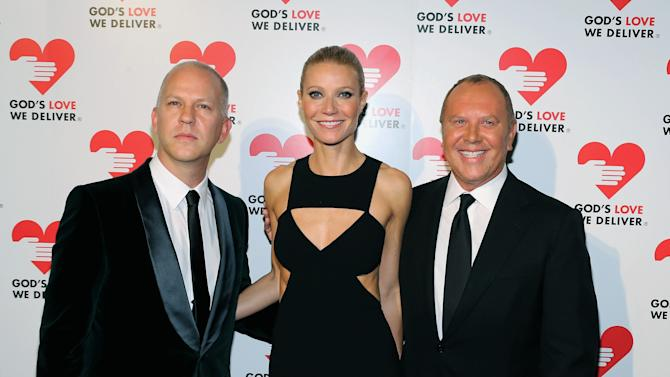 In this Oct. 15, 2012 photo provided by Michael Kors, from left, Ryan Murphy, Gwyneth Paltrow and Michael Kors attend the God's Love We Deliver 2012 Golden Heart Awards in New York. Kors' commitment to God's Love We Deliver, an organization that delivers more than one million meals per year to house-bound people suffering from illness, isn't a here-today, gone-tomorrow trend. He has been involved for two decades, and this year he was honored with its lifetime achievement award. (AP Photo/Michael Loccisano, Neilson Barnard for Michael Kors)