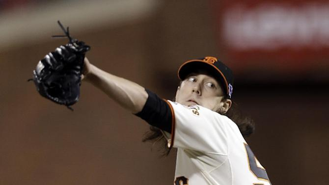 San Francisco Giants relief pitcher Tim Lincecum throws during the fifth inning of Game 1 of baseball's National League championship series against the St. Louis Cardinals Sunday, Oct. 14, 2012, in San Francisco. (AP Photo/Ben Margot)