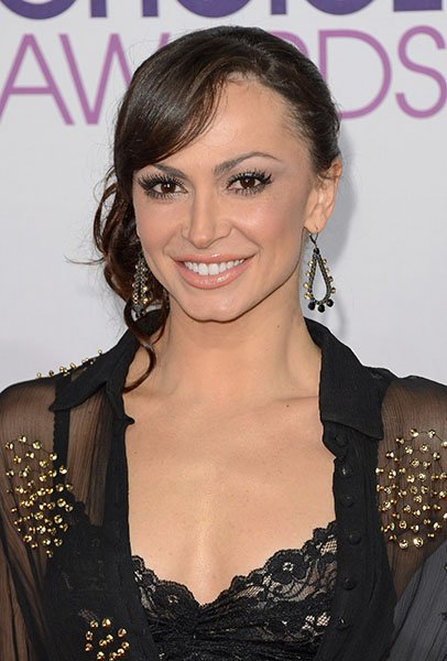 Karina Smirnoff wearing mixed metal teardrops