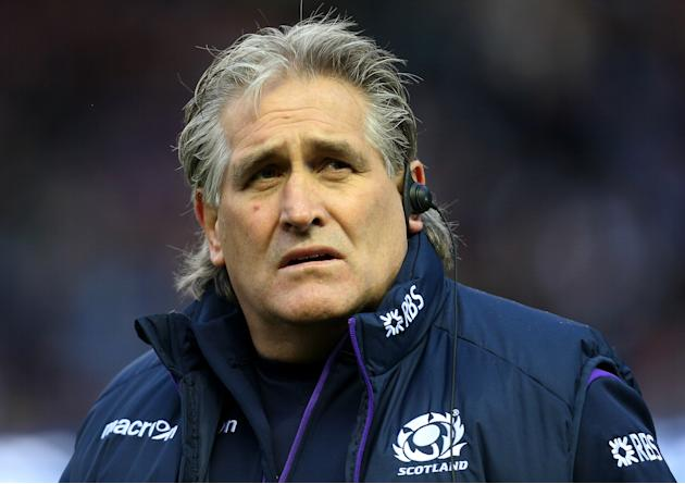 Scotland coach Scott Johnson looks on ahead of their Six Nations rugby union international match against England at Murrayfield, Edinburgh, Scotland, Saturday Feb. 8, 2014. (AP Photo/Scott Heppell)