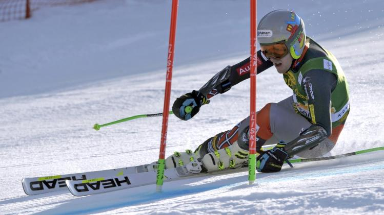 Ted Ligety of the U.S. clears a gate during the first run of the Alpine Skiing World Cup men's giant slalom ski race in Kranjska Gora