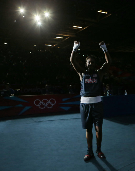 United States' Claressa Shields reacts following a fight against Kazakhstan's Marina Volnova in a women's middleweight 75-kg semifinal boxing match at the 2012 Summer Olympics, Wednesday, Aug. 8, 2012