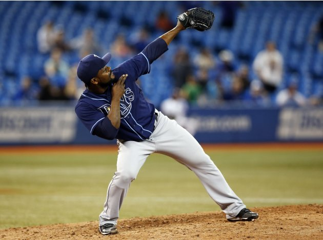 Rays Rodney celebrates his save against the  Blue Jays during their MLB baseball game in Toronto