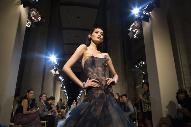 The Zac Posen Spring 2013 collection is modeled during Fashion Week in New York, Sunday, Sept. 9, 2012. (AP Photo/John Minchillo)