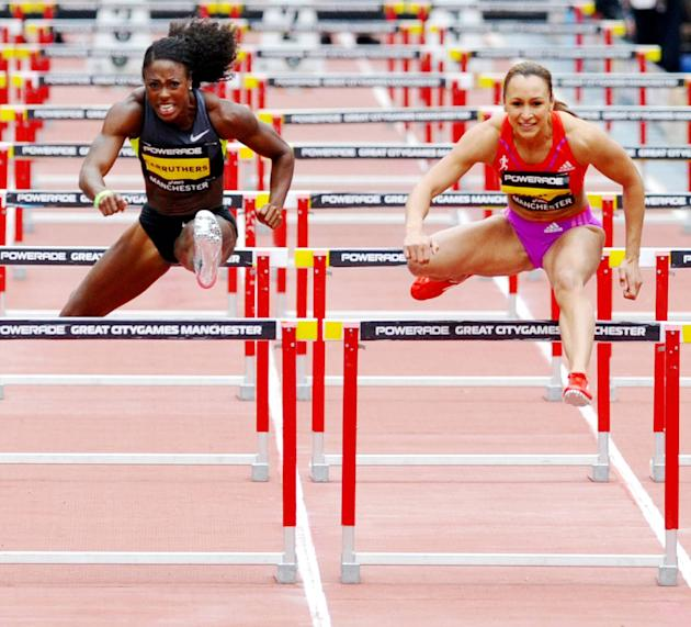 Jessica Enniscompeting in the Women's 100 metre hurdles race at the Great CityGames. The Team GB heptathlete clocked 12.75 seconds but her time does not stand because of a technical error and ther