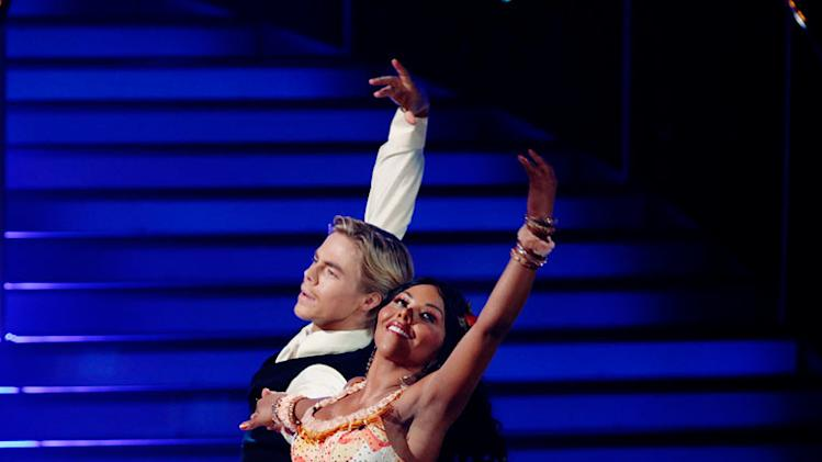 "Lil' Kim and Derek Hough perform the Waltz to ""When I Need You"" by Leo Sayer on ""Dancing with the Stars."""