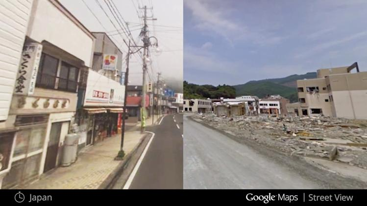 This illustration provided by Google highlights a new Google Maps Street View snapshots feature, which allow users to see what specific neighborhoods and landmarks looked like at different periods during the past seven years that Google Inc. has been dispatching camera-toting cars to take pictures for its maps. This image shows what a neighborhood in Japan looked like in July 2008, left, and in August 2011, after a major earthquake hit, right. (AP Photo/Google)