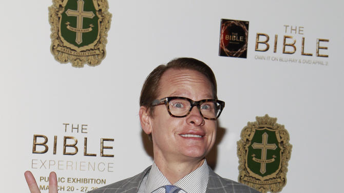 Carson Kressley poses on the red carpet at the celebration of the April 2 Blu-ray, DVD, and Digital HD release of THE BIBLE from Twentieth Century Fox Home Entertainment  during The Bible Experience opening night gala, a rare exhibit of biblical artifacts on Tuesday, March 19 in New York. (Photo by Mark Von Holden/Invision for Fox Home Entertainment/AP Images)