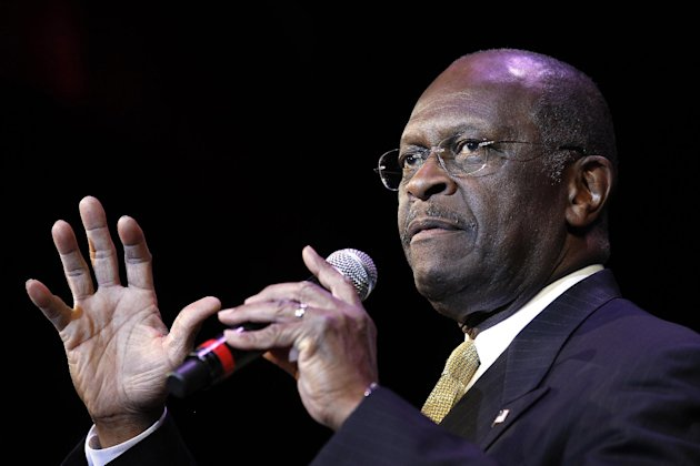 Republican presidential candidate Herman Cain delivers a keynote address during the Western Republican Leadership Conference Wednesday, Oct. 19, 2011, in Las Vegas. (AP Photo/Isaac Brekken)