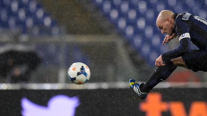 Esteban Matias Cambiasso kicks the ball for Inter Milan during an Italian Serie A match on March 1, 2014, at Rome's Olympic stadium