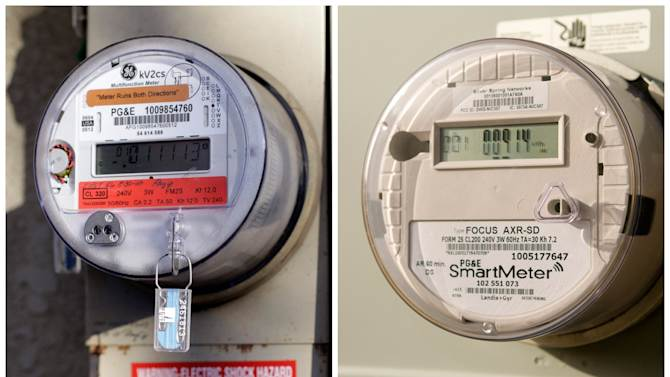 """This combination of undated AP Photos, shows left, a remaining analog meter in Clovis, California and right, a smart reader. Every day, PG&E replaces 1,200 old-fashioned analog meters with digital """"SmartMeter"""" versions that can collect information without human help, generate more accurate power bills, even send an alert if the power goes out. (AP Photo/Gosia Wozniacka)"""