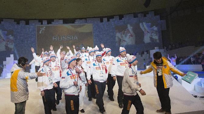 Russia`s Special Olympics team enters Arena stage at the YongPyong dome during the 2013 Special Olympics World Winter Games opening ceremony in PyeongChang, South Korea on Tuesday, Jan. 29, 2013. About 2,300 athletes from 110 countries are participating in seven sports, such as snowboarding, alpine skiing and figure skating, and one demonstration sport, floorball. (Manchul Kim/AP Images for Special Olympics)