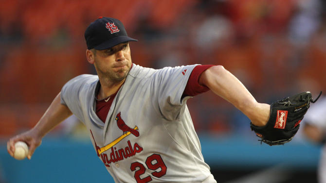 St. Louis Cardinals starting pitcher Chris Carpenter (29) throws in the second inning during a baseball game against the Florida Marlins in Miami, Saturday, Aug. 6, 2011. (AP Photo/Lynne Sladky)