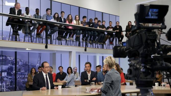 French President Hollande attends Canal Plus television midday programme in Paris