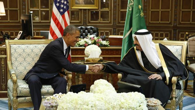 U.S. President Obama shakes hands with Saudi Arabia's King Salman at the start of a bilateral meeting at Erga Palacein Riyadh