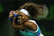 Serena Williams of the US, seen in action against Agnieszka Radwanska of Poland during their semi-final match at the Sony Open at Crandon Park Tennis Center in Key Biscayne, Florida, on March 28, 2013. Williams won 6-0, 6-3