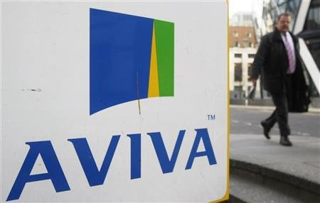 A man walks past an AVIVA logo outside the company's head office in the city of London March 5, 2009.