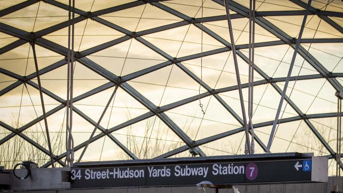 The entrance to the still unfinished 34th St. Hudson Yards stop for the Number 7 subway line is seen in New York