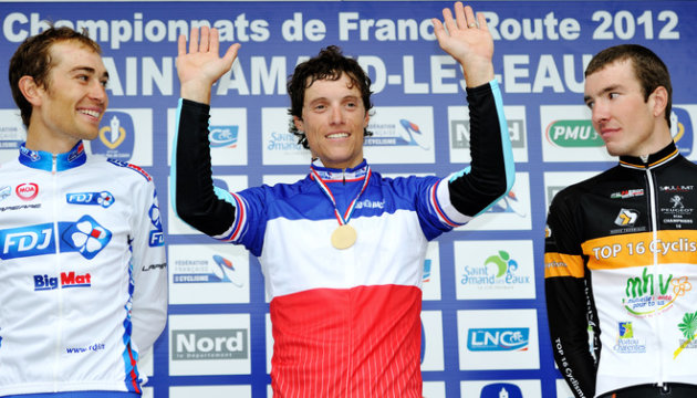 French Cyclist Sylvain Chavanel (C) Poses With His Gold Medal On The Podium With French Cyclist Bronze Medalist Jeremy AFP/Getty Images