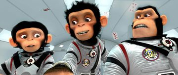 Luna (voiced bv Cheryl Hines ), Ham (voiced by Andy Samberg ) and Titan (voiced by Patrick Warburton ) in 20th Century Fox's Space Chimps