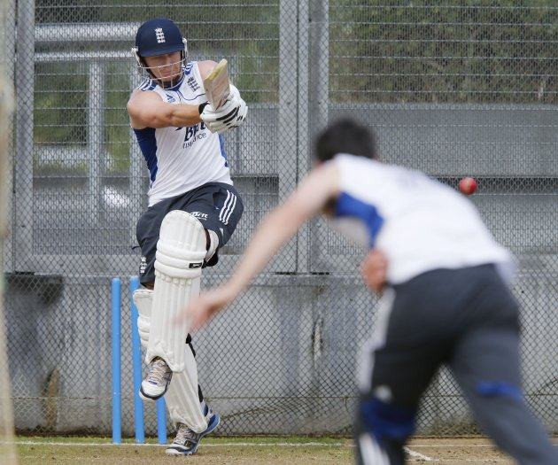England's Jonny Bairstow practices in the batting nets ahead of the final cricket test against New Zealand in Auckland