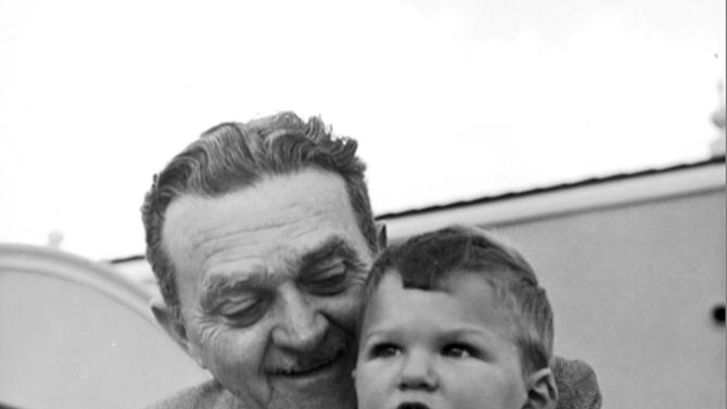 "This 1952 photo shows Billie Wilkerson with his son, Willie. The son of Hollywood Reporter founder Billy Wilkerson, W.R. Wilkerson III,  is apologizing for his father's and the trade paper's role in the 1947 Hollywood Blacklist that destroyed the careers of writers, actors and directors accused of having Communist ties. He offers his ""sincerest apologies and deepest regrets to those who were victimized by this unfortunate incident."" (AP Photo/Wilkerson Archives, Alex Paal)"