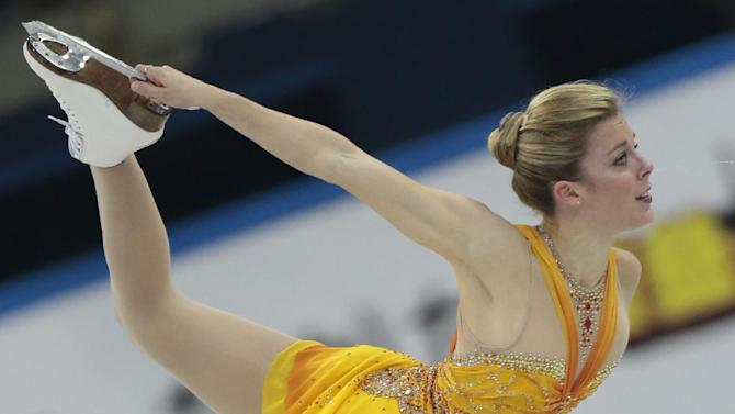 Ashley Wagner, of the United States, skates her free program to win the silver at the ISU figure skating Grand Prix Final event, at Iceberg stadium in Sochi, Russia, on Saturday, Dec. 8, 2012. (AP Photo/Ivan Sekretarev)