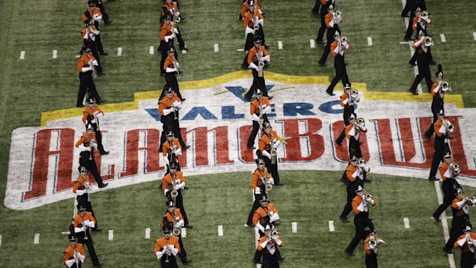 The Oregon State marching band performs prior to the Alamo Bowl NCAA football game between Oregon State and Texas, Saturday, Dec. 29, 2012, in San Antonio.  (AP Photo/Eric Gay)