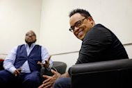 In this June 11, 2012 photo, gospel singers Marvin Sapp, left, and Israel Houghton hang out backstage before taping a television show in Atlanta. There is a lot riding on the expanding brand of gospel music through the upcoming King's Men concert tour featuring Kirk Franklin, Sapp, Donnie McClurkin and Houghton. The King's Men concert series will be the first gospel tour backed by Live Nation Inc., the world's largest concert promoter. It's also the first step toward proving that the genre can broaden its fan base and become a lucrative business for the promotional company. (AP Photo/David Goldman)