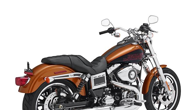 "This product image provided by Harley-Davidson shows a 2014 FXDL Dyna Low Rider motorcycle. Harley-Davidson is recalling more than 3,300 FXDL Dyna Low Rider bikes because engine vibration can turn the switches from ""run"" to ""accessory."" The recall covers motorcycles from the 2014 ½ model year. (AP Photo/Harley-Davidson)"