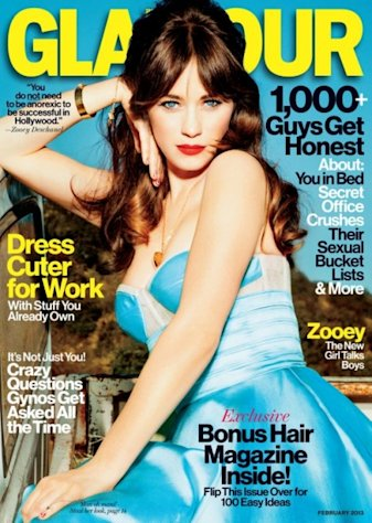 Zooey Deschanel on the February 2013 cover of Glamour magazine -- Glamour