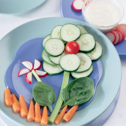 Vegetable Flowers with Homemade Ranch Dip