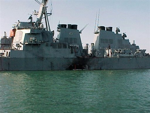 Viw of the USS Cole shortly after it was attacked in October 2000 whilst refuelling in the Yemeni port of Aden. The alleged Saudi mastermind of an attack on the USS Cole in Yemen appeared in front of a military tribunal at Guantanamo for a pre-trial hearing