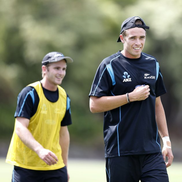 New Zealand's Tim Southee and Kane Williamson laugh during training ahead of the final cricket test against England in Auckland