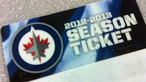 Plastic cards like this one are replacing the books of paper tickets that Winnipeg Jets season ticket holders had last season.