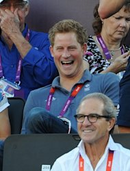 Prince Harry watches Beach Volleyball on Day 12 of the London 2012 Olympic Games at Horse Guards Parade, London, on August 8, 2012 -- Getty Images