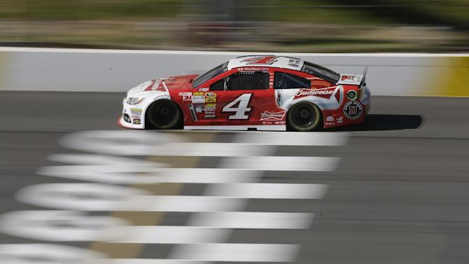 Kevin Harvick practices for Sunday's NASCAR Sprint Cup Series auto race at Pocono Raceway on Saturday, June 7, 2014, in Long Pond, Pa