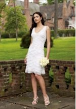 V Neck Knee Length Lace/ Chiffon Wedding Dress Style